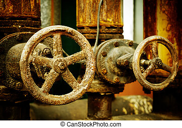Corrosion of the metal valve - Rusty sewer valve -...