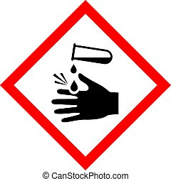 Corrosive acid safety vector sign on white background