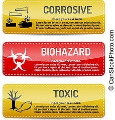 Corrosive, Biohazard, Toxic - Danger sign set