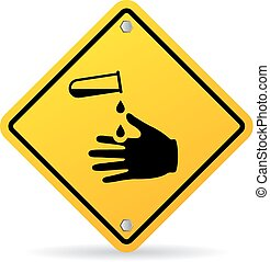 Corrosive chemicals danger warning sign