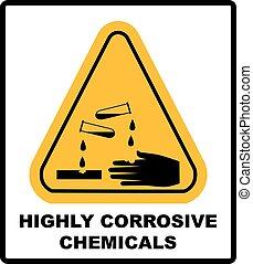 Corrosive sign. Warning sign. Danger sign.