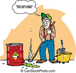 corrosive stuff - A janitor mopping up green stuff that has ...