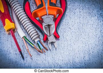 corrugado, aislado, alambre, destornillador, tubo,...
