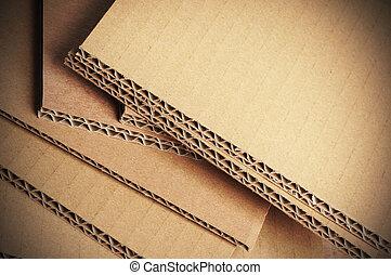corrugado, cartón, plano de fondo, detalle, cartón