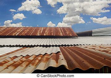 corrugado, techo, plano de fondo