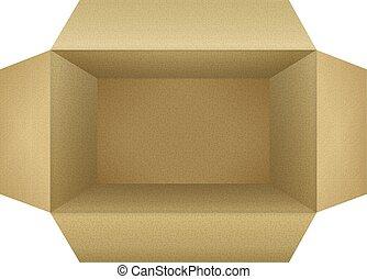 Corrugated Cardboard Box - Open empty corrugated cardboard...