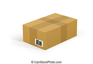 Corrugated cardboard box package isolated on white background