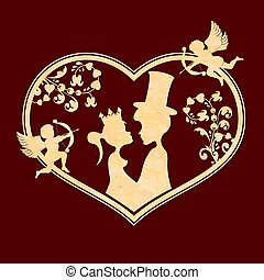 Corrugated composition with the silhouette of the heart, a boy in a hat and a girl with a crown