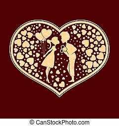 Corrugated heart silhouette composition with a boy and a girl with balloons,