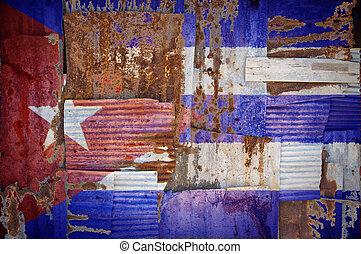 Corrugated Iron Cuba Flag