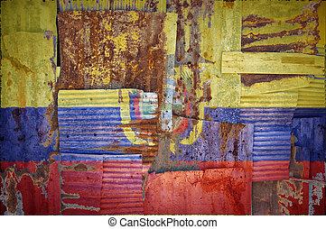 Corrugated Iron Ecuador Flag