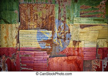Corrugated Iron Ethiopia Flag