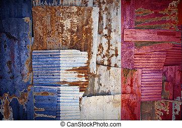 Corrugated Iron France Flag