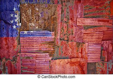 Corrugated Iron Myanmar Flag