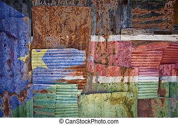 Corrugated Iron South Sudan Flag - An abstract background...