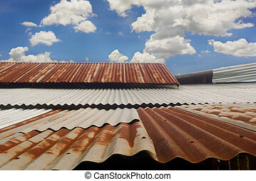 Corrugated roof background - Old zinc roof and beautiful sky...