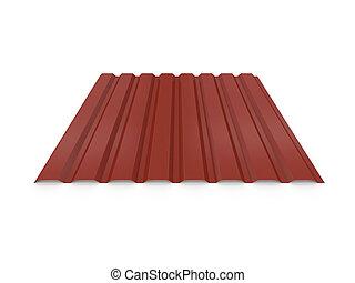 corrugated, sheet., металл, isolated, иллюстрация, оказание, задний план, белый, 3d