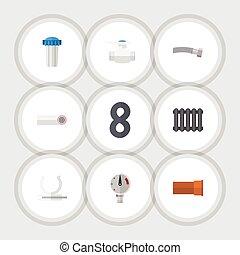 corrugato, appartamento, conduttura, set, supporto, elements., riscaldatore, scolo, include, anche, vettore, tubo, idraulica, objects., plastica, altro, icona