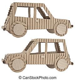 corrugato, automobile, fatto, cartone