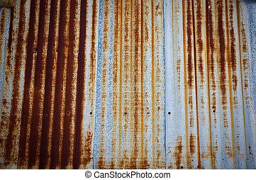 corrugato, recinto, parete metallo, arrugginito, ferro, ...