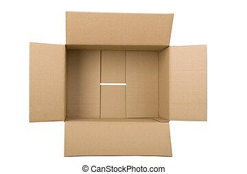 corrugato, scatola, cartone, aperto