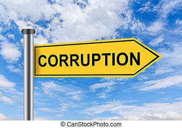 corrupción, camino, palabras, signo amarillo