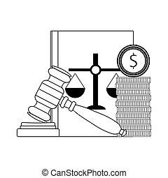 Corrupt bribery in judge. Vector line money bribe,...