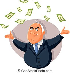 Corrupt Politician Throwing Bribe Money in The Air - Greedy ...