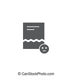 Corrupted file document vector icon isolated on white background