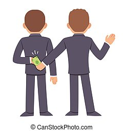 Corruption and bribery concept. People in business suits...