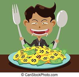 corruption and man - illustration corruption man and money