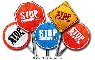 corruption, arrêt, collection, signe, rue, rendre, rugueux, 3d