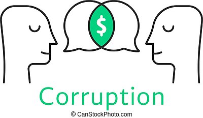 corruption between two thin line person. concept of ...