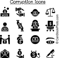 Corruption & Dishonesty icon set vector illustration graphic design