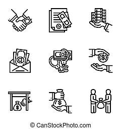 Corruption icon set, outline style