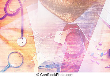Corruption in healthcare industry, multilayered image