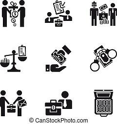Corruption money icon set, simple style - Corruption money...