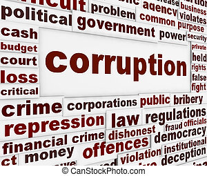 Corruption political poster. Financial bribery warning...