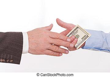 corruption., primer plano, de, hombre de negocios, dar dinero, a, otro, hombre, mientras, apretón de manos