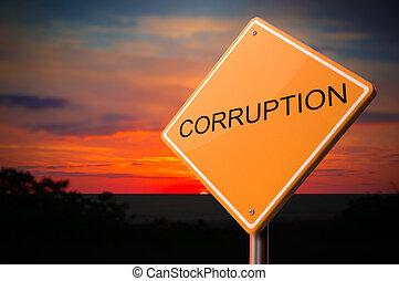 corruption, route, avertissement, signe.