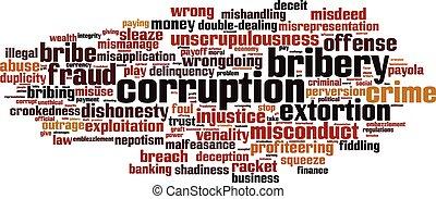 Corruption word cloud concept. Vector illustration