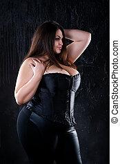 corsé, modelo, grande, concepto, sexy, natural, negro,...