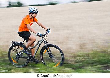 corsa bici, appresso, campo