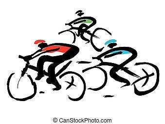 corsa bicicletta, inchiostro, drawing.
