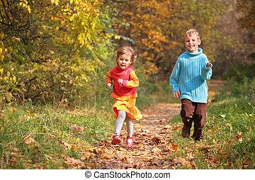 corsa, due, autunno, legno, sentiero, bambini