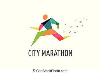 corsa, manifesto, simbolo, icona, logotipo, maratona