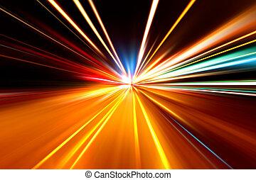 corsa, rapido, autostrada, notte