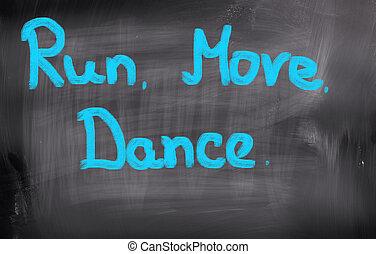 corsa, spostare, ballo, concetto