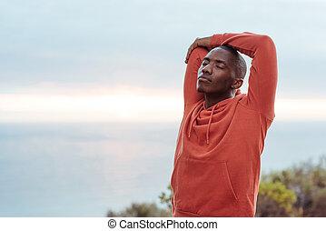 corsa, stiramento, giovane, oceano, africano, lungo, prima, uomo