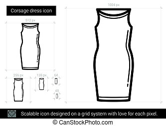 Corsage dress line icon. - Corsage dress vector line icon...